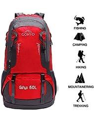 Gohyo Mochila de Viaje 60L Senderismo Ligera Impermeable para Marcha Trekking Camping Montaña Escalada Red