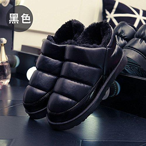 Inverno fankou borsa nera con cotone pantofole home home e al di fuori di uomini e donne giovane caldo - non slip di cotone impermeabile scarpe F