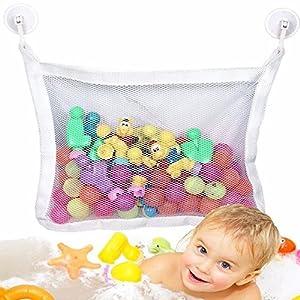 "Gaobei Kids Baby Time Bath Toy Bag Tidy Storage Suction Cup Bag Mesh Bathroom Organiser Net L 17.71""X13.38"""