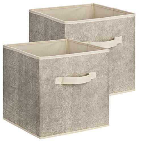 2er Set Quadratische Aufbewahrungsbox aus Stoff, 30 x 30 x 30 cm Universalbox zur Ordnung und Aufbewahrung im Schrank oder Regal - Aufbewahrungskorb, Box, Ordnungsboxen (Quadratische Aufbewahrungsbox)