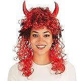 Perruque de Diable   avec 2 cornes intégrées   noirs et rouges   diablesse halloween carnaval