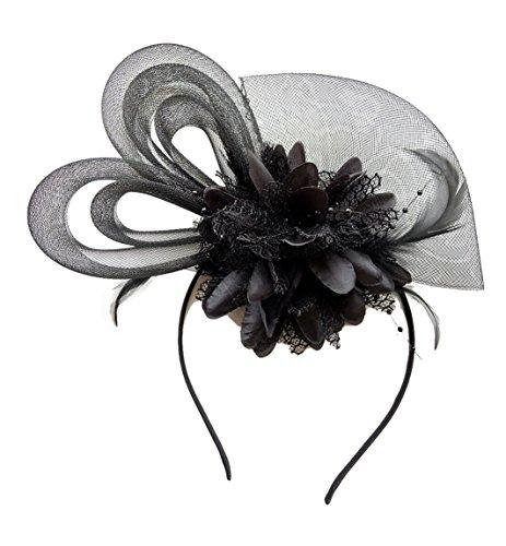 Damen Fascinator Haarspange Cocktail Kopfbedeckung Brautkopfschmuck Hairpin Mesh Blume (Size Life Props)