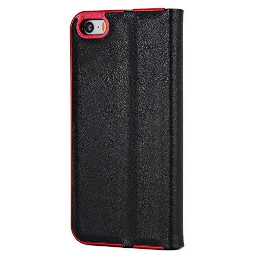 Schöner eleganter magnetischer Verschluss PU-lederner schützender Abdeckungs-Fall mit Kickstand und Einbauschlitz für iPhone 5 u. 5s u. SE ( Color : Gray ) Black