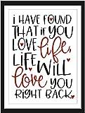 Wand-Spruch Kunstdruck-Bild LIFE LOVES YOU schwarz-weiß rot Poster