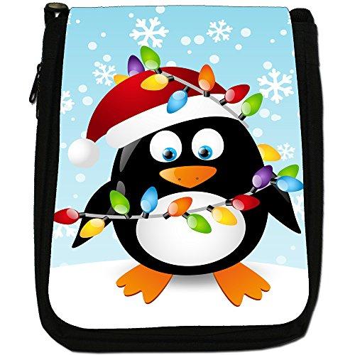 Vacanze di Natale Stagione Penguins Medium Nero Borsa In Tela, taglia M Tangled In Christmas Lights