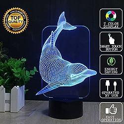 Dolphin 3D Illusion Lamps, FZAI 7 Colori Touch Switch Desk LED Night Lights con cavo 150cm USB per i bambini regalo Home Decor
