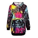 NPRADLA 2018 Pullover Damen Elegant Locker Lang Mode Frauen Sweatshirt Kapuzen Mantel Bluse Tops Bunte Krawatte Färben Druck(Schwarz,XL/EU Gr.46)
