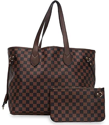 Gossip Girl - Designer Inspired Check Handbag Shoulder Bag With Purse (Check - Brown)