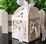 CORST 50pcs Bride and Groom Laser Cut Candy Favor Boxes For Wedding, Celebration Party White