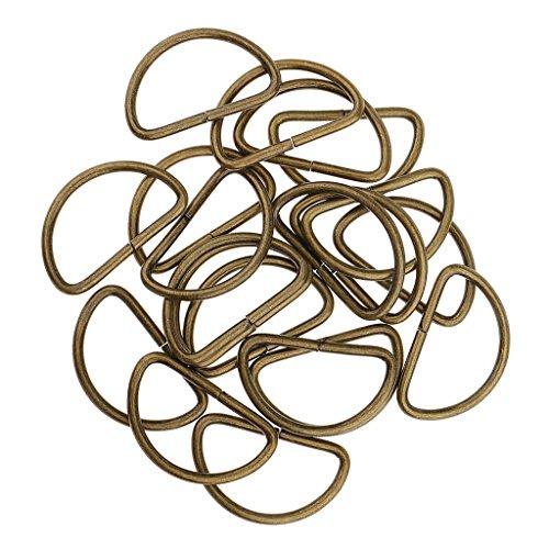 Sharplace 100 Stück D-Ringe Schnalle Halbrunde gurtband schnallen-Verschluss - Bronze, 32x16x2.8mm -