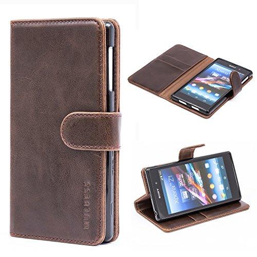 Mulbess Handyhülle für Sony Xperia Z1 Hülle, Leder Flip Case Schutzhülle für Sony Z1 Tasche, Vintage Braun