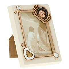 Idea Regalo - Thun C1968A80 Portafoto Medio da Parete/Appoggio Angelo, Ceramica, Avorio, 18 x 21 x 5.9 cm