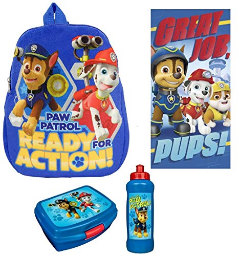 Familando Paw Patrol Plüsch Rucksack-Set 4-TLG. für Kindergarten / Krippe 0121991 Plus Strandtuch 70x140 cm; 100% Baumwolle und Dose /Flasche blau
