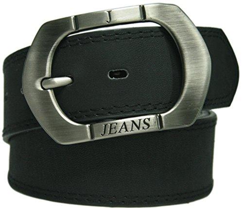 BAY24 | Damen und Herren Jeans Gürtel Riemen Schnalle XXL 4,3cm Breite Herrengürtel Damengürtel | * KB01 Schwarz * 130 cm