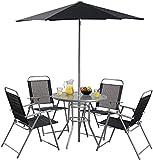 Hawaii Bistro Garden Dining Set Table 4 Folding Chairs & Parasol - Black