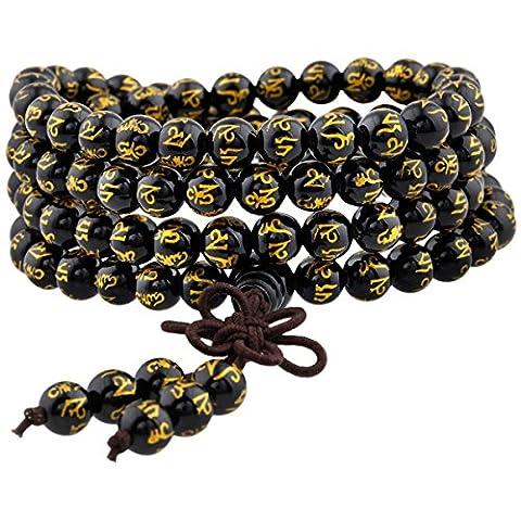 Shanxing Bracelet Chakra Bouddhiste Collier Mala 108 Perles en Pierre Tibétain Bouddha pour Homme Femme