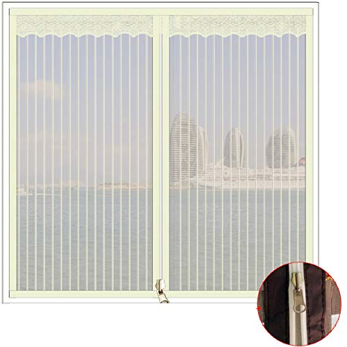 Selbstklebend Fensterbildschirm Netting Mesh-vorhang,Gestickt Reißverschluss Full frame Magic tape Windproof Fenster-netting-moskitonetz-A 60x100cm(24x39inch)