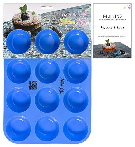 Kitchen Helpis® Smarte Muffinform BPA-frei und antihaftbeschichtet | incl. Rezepte E-Book, Silikon Muffinform, 12er Muffinblech Silikon, Muffinform Silikon