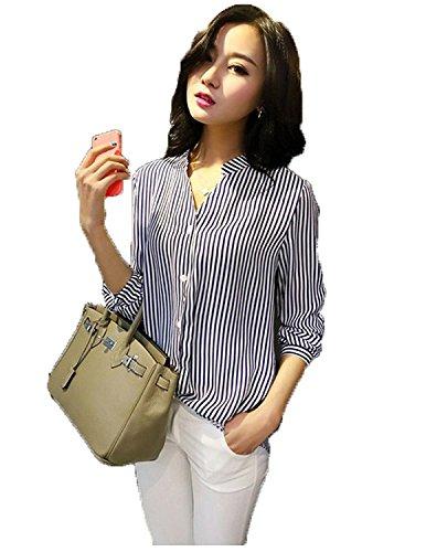 FabDiamond Women\'s Georgette Slim Fit Shirt(Black_X-Large)