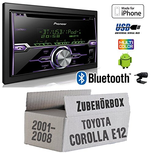 Toyota Corolla E12/120 - Radio Pioneer FH-X720BT USB Bluetooth CD Autoradio Android iPod/iPhone-Direktsteuerung - Einbauset