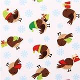 Weißer Weihnachts Vogel Flanellstoff Holiday Hoot