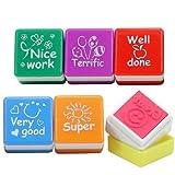 Playwrite - Set de 6 sellos de profesor con mensajes en inglés ('Well done', 'Super', 'Great', 'Nice work', 'Very good', 'Terrific')