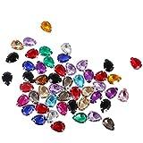 MagiDeal 50pcs Strass Diamante Gemme en Acrylique Rhinestone Multicolore à Coudre ou Coller pour Bijoux DIY - Goutte D'eau