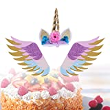 BESTOYARD 3 Stück Glitter Einhorn Geburtstagskuchen Topper Sets mit Glitzernden Flügeln Einhorn Kuchen Dekorationen für Geburtstag Baby Shower Hochzeit liefert