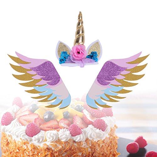 BESTOYARD 3 Stück Glitter Einhorn Geburtstagskuchen Topper Sets mit Glitzernden Flügeln Einhorn...