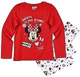 Minnie Mouse Schlafanzug Mädchen Pyjama Disney (Rot-Weiß, 128)