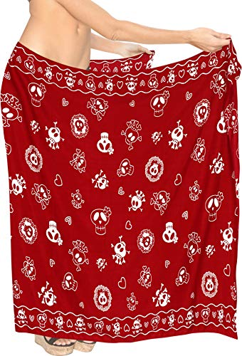 LA LEELA Pumkin Scary Grusel Ghosts Party Festliche Happy Halloween kostüm Strand Sarong Frauen Wandbehang Sarong Strandtuch Wickelkleid Urlaub Sommerkleid Wrap Pareo Cover UP Skelett 88X39 Rot_B923 (Happy Ghost Kostüm)