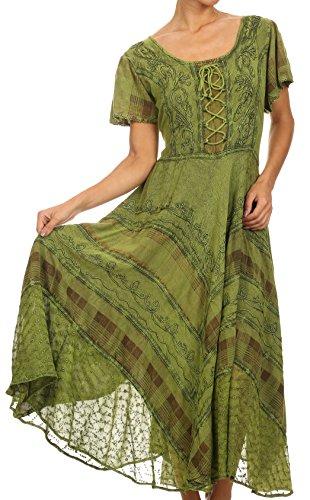 Kalte Schulter Band-sleeve Top (Sakkas 15323 - Mila Lange Korsett gestickte Kappe Ärmel Kleid mit verstellbarem Taillen - grün - S/M)