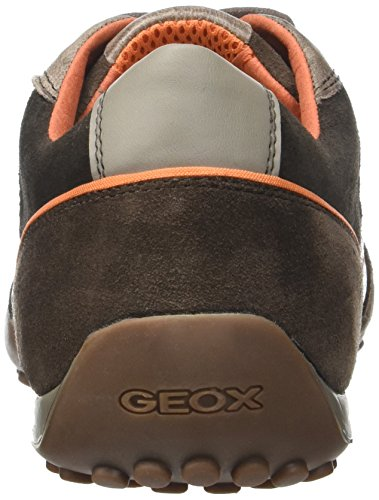 Geox Snake A, Scarpe da Ginnastica Basse Uomo Marrone (Ebonyc6027)