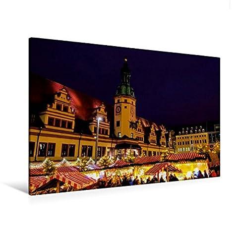 Premium Textil-Leinwand 120 cm x 80 cm quer, Weihnachtsmarkt | Wandbild, Bild auf Keilrahmen, Fertigbild auf echter Leinwand, Leinwanddruck: Reise durch Leipzig (CALVENDO (Deutscher Weihnachtsmarkt-buden)