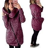 Kapuzenpullover Sweatshirt Damen Jacke Mantel Hoodie Reißverschluss Outwear Oberteile Stehkragen Coat Frauen Mantel mit Taschen Ubersteigt Langarmshirt Blusen,ABsoar