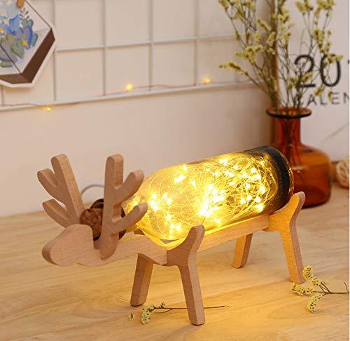 Weihnachten Elch Led Nachtlicht Glasflasche Holz Basis Illusion Nachtschalter Tischleuchte Lampe Kreative Lava Lampe Nachtlicht - Elch Wc