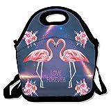 Blume Love Flamingo Lunch Bag Handtasche Lunchbox für Schule Arbeit Outdoor