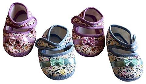 Bébé Fille, Pre Walker, Chaussures de landau Lot de 2paires en rose, violet et bleu - multicolore - 3-6 mois