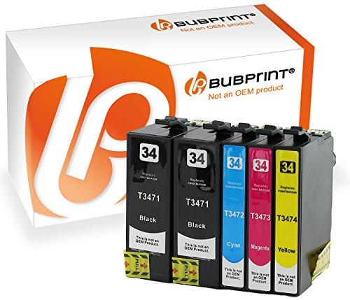 5 Bubprint Druckerpatronen kompatibel für Epson T3471 XL T3472 T3473 T3474 34XL 34 XL black WorkForce Pro WF-3720DW WF-3720DWF WF-3725DWF Multipack Set
