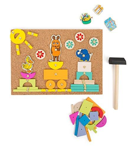 """Small Foot Design 10817 Hämmerchenspiel auf Korkboden mit Motiven von der Maus und Co. aus """"Der Maus"""", inkl.Vieler Holzteile,Nägel und Hämmerchen zum basteln und konstruieren, fördert die Kreativität"""