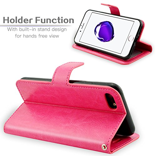 Fraelc® iPhone 7 Hülle Lederhülle Handyhülle Standfunktion & Card Holder Schutzhülle für iPhone 7 4,7 Zoll (mit 1x Displayschutzfolie + 1x Eingabestift ) - Schwarz Rose