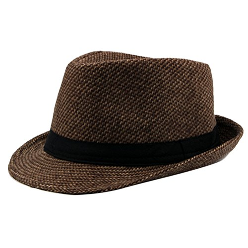 Zhhlaixing Winter Herrens Warm Tweed Gangster Trilby Fedora Hat Jazz Cap with Black Band Tweed-trilby