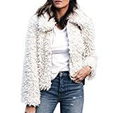 Mode Kurz Coat Damen Mäntel Warme Künstliche Wollmantel MYMYG Reißverschluss Jacke Winter Parka Oberbekleidung Revers Faux Für Outwear Winterjacke (Weiß,EU:36/CN-M)