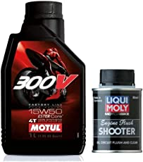 Motul 300V 15W50 Factory Line 4T Synthetic Engine Oil with Ester Core - 1 Lt and Liqui Moly Motorbike Engine Flush Shooter - 80 Ml Combo