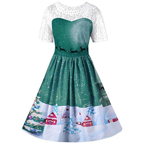 Robe de bal Robe de Noël,OVERMAL Les Femmes De NoëL Vintage Robe Santa Claus Deer Pour Swing Robe Vert