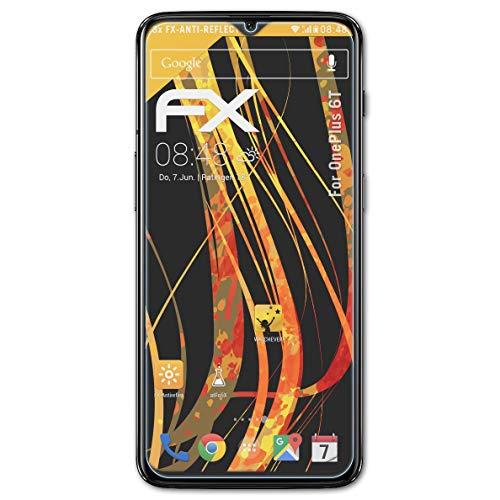 atFolix Panzerfolie kompatibel mit OnePlus 6T Schutzfolie, entspiegelnde & stoßdämpfende FX Folie (3X)