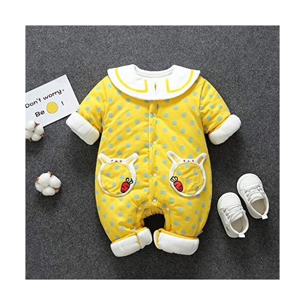 Recién Nacido Mono Invierno Moda Niñito Bebé Niños niñas Calentar Labor de Retazos Mameluco del Lunar Mono Conejo… 3