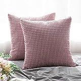 MIULEE 2er Set Cord Weiches Massiv Dekorativen Quadratisch Überwurf Kissenbezüge Kissen für Sofa Schlafzimmer Auto 18'x18', 45 x 45 cm Rosa Lila