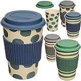 alles-meine.de GmbH 2 Stück _ Coffee to Go Becher - Bambus - Punkte & Streifen - Farbmix - BPA frei - mit Deckel - 400 ml - auslaufsicher - Silikon Griffring - verschließbar - Me..