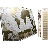 Grande Carte du Monde à Gratter Édition de Luxe – Planisphère à Gratter – 10 000 Villes et Endroits À Marquer